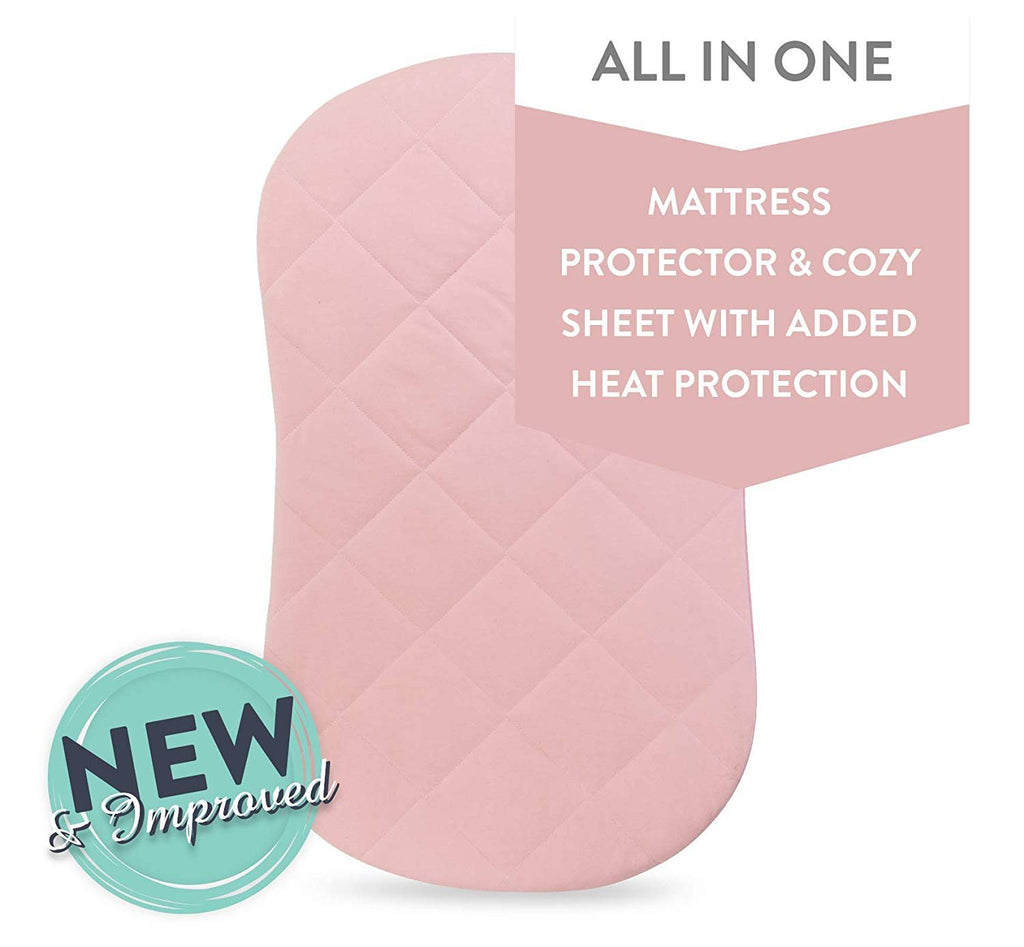 Waterproof Quilted Bassinet Sheet with Heat Protection-Pink