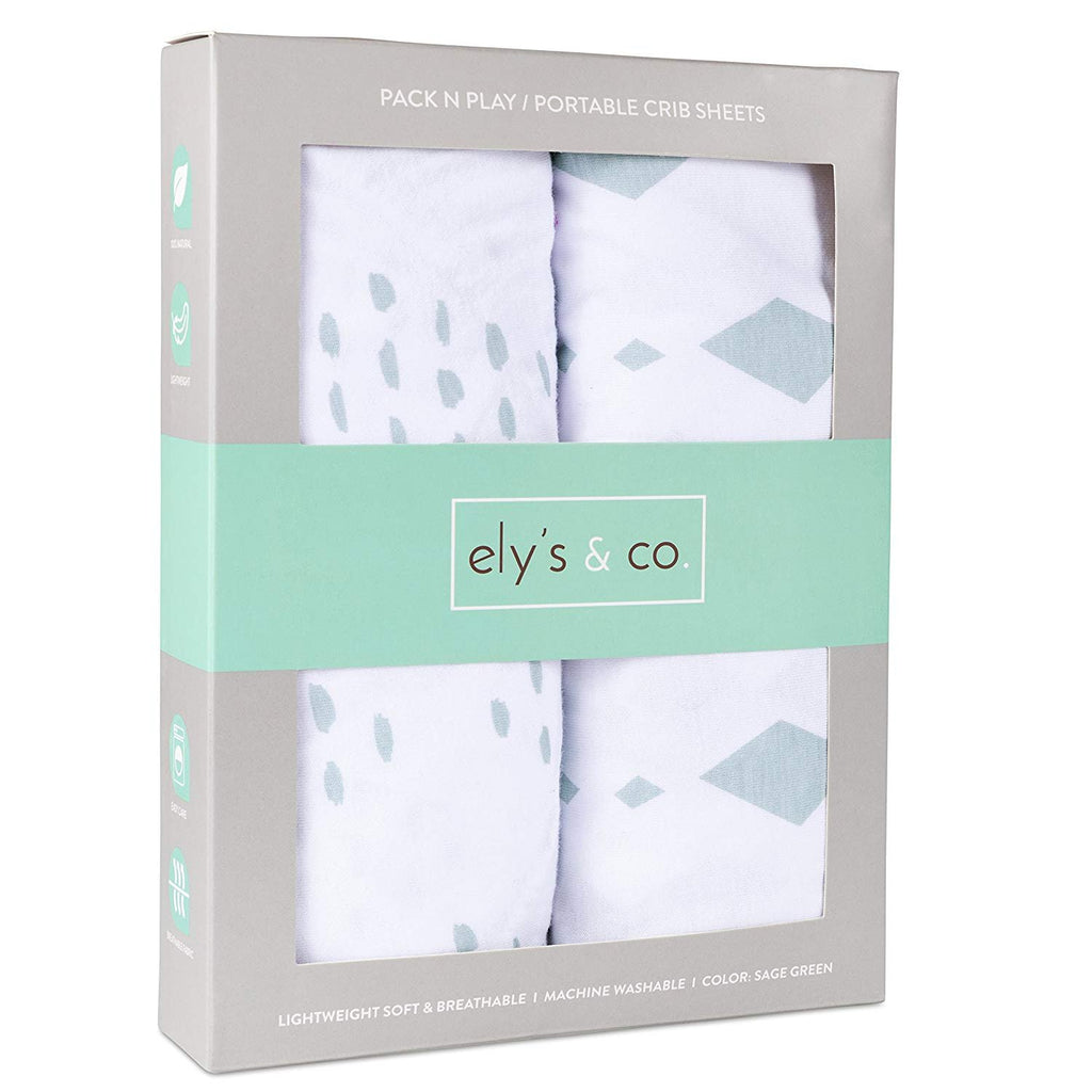 Pack N Play I Portable Crib Sheet Set - Sage Diamond