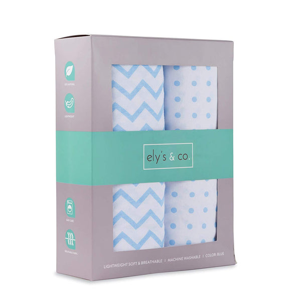 Changing Pad Cover / Cradle Sheet Set I Blue Chevron and Polka Dots