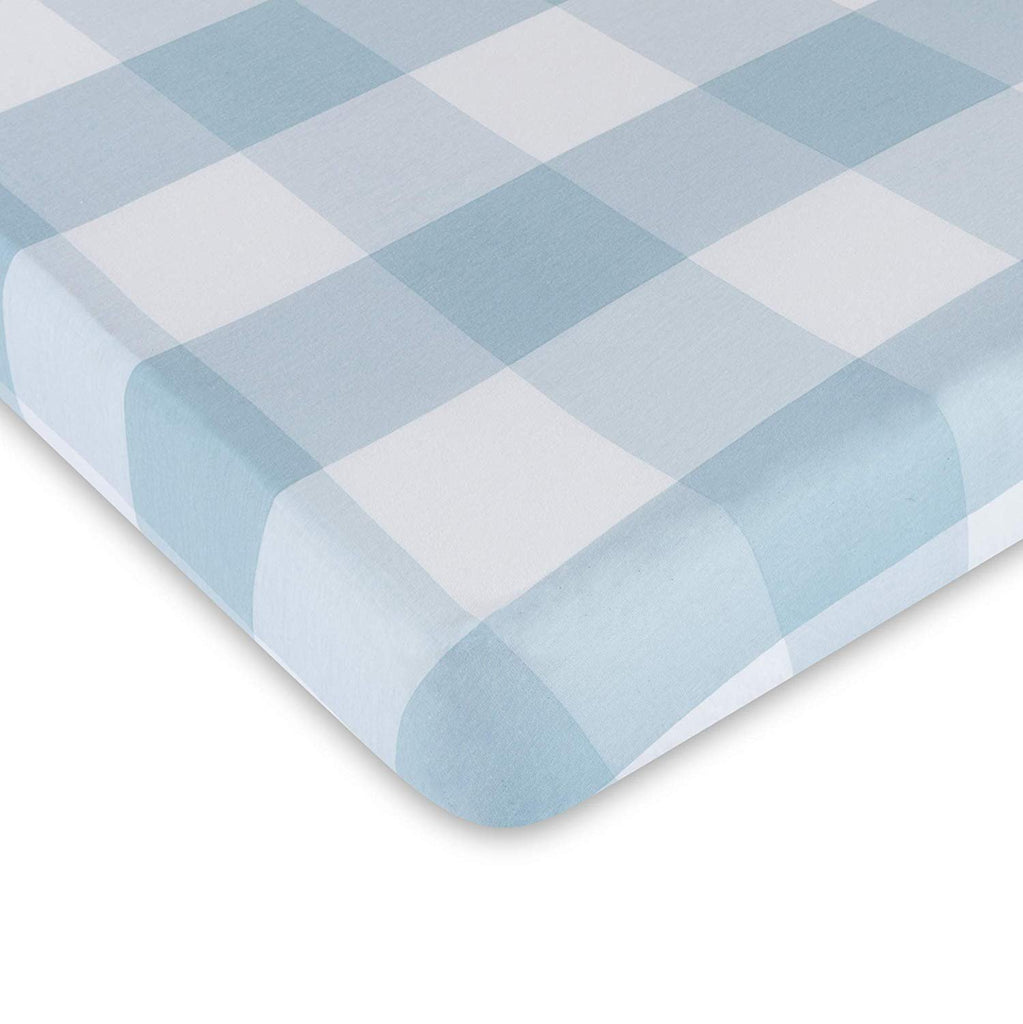 Single Pack Crib Sheet | Gingham Dusty Blue