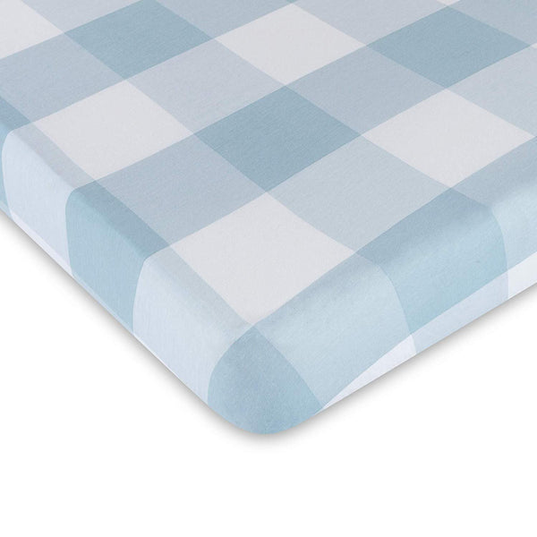Baby Crib Sheet 100% Premium Jersey Cotton 1 Pack Gingham Dusty Blue for Baby boy