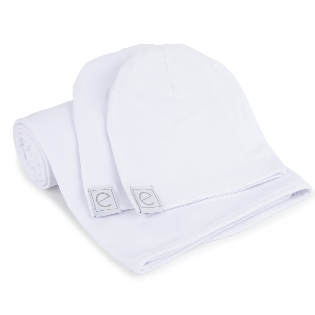 Jersey Knit Cotton Swaddle Blanket and Beanie Gift Set - White