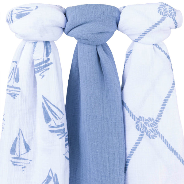 Cotton Muslin Swaddle Blankets I Blue Nautical - 3 Pack
