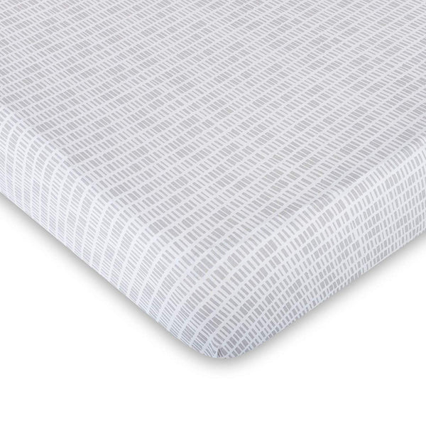 Baby Crib Sheet 100% Premium Jersey Cotton 1 Pack Neutral Grey Bamboo Design Unisex