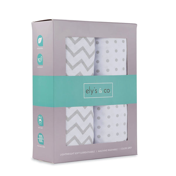 Pack N Play / Portable Crib Sheet Set I Grey Chevron and Polka Dot