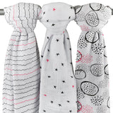 Cotton Muslin Swaddle Blankets I Black and Hot Pink Abstract Circle Print