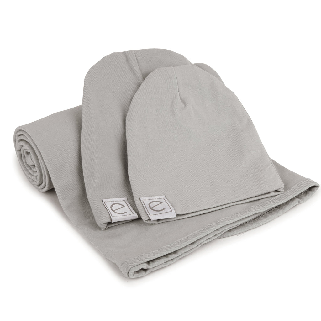 Jersey Knit Cotton Swaddle Blanket and Beanie Gift Set - Grey