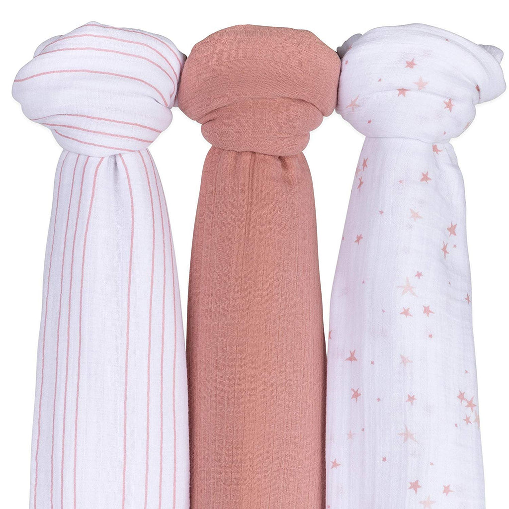 Cotton Muslin Swaddle Blanket I Pink Dusty Rose Stars -  3-Pack