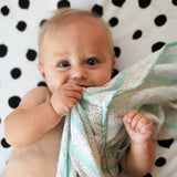Bamboo Muslin Swaddles I Blue Abstract Design
