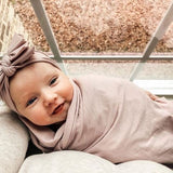 Jersey Knit Cotton Swaddle Blanket and Beanie Gift Set - Mauve Lavender