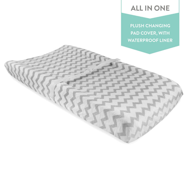 Waterproof Plush Changing Pad Cover I Grey and White Chevron Velvet