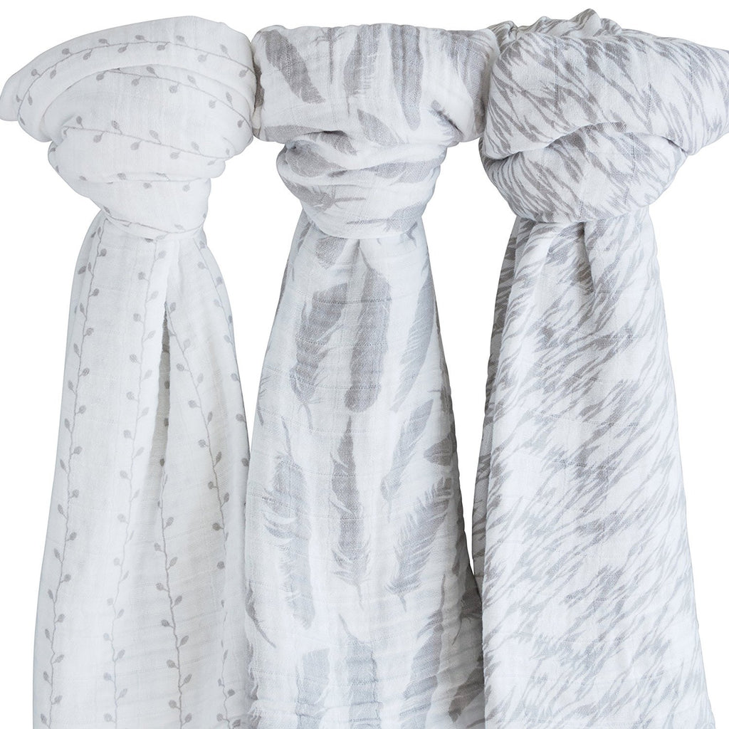 Cotton Muslin Swaddle Blankets I Classic Grey Combo