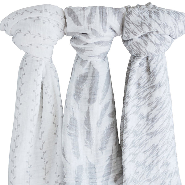 Muslin Swaddle Blankets I Classic Grey Combo