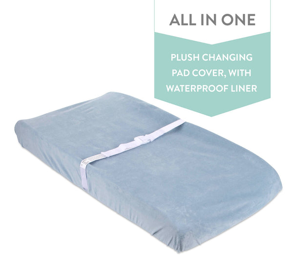 Waterproof Plush Changing Pad Cover I Dusty Blue Velvet
