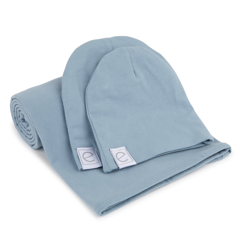 Jersey Knit Cotton Swaddle Blanket and Beanie Gift Set - Dusty Blue