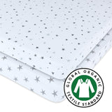 Organic Pack N Play / Portable Crib Sheet Set I Grey Stars