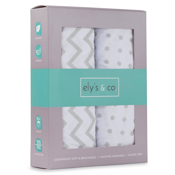 Bassinet Sheet Set 2 Pack 100% Jersey Cotton for Baby Girl by Ely's & Co. - Grey Chevron and Polka Dot by Ely's & Co.