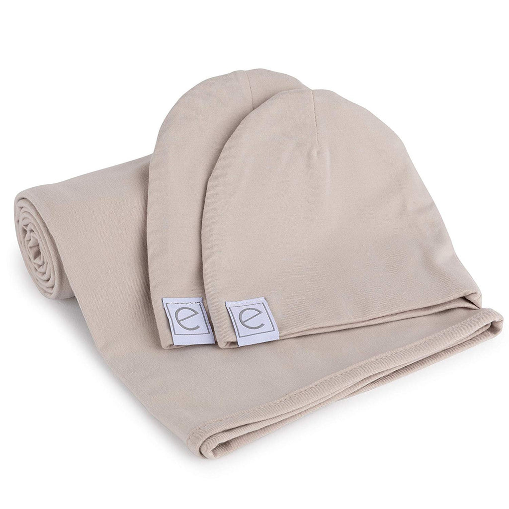 Jersey Knit Cotton Swaddle Blanket and Beanie Gift Set - Tan