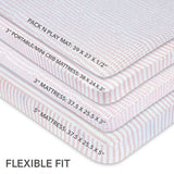 Waterproof Pack n Play/Portable Crib Sheet I Mauve Pink Stripes