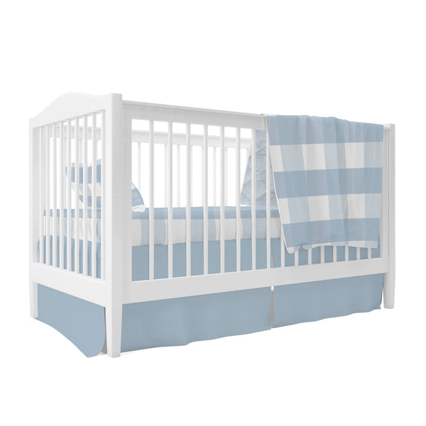 Four Piece Baby Crib Set I Dusty Blue Gingham Design