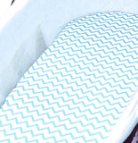 Bassinet Sheet Set I Blue Chevron and Polka Dots