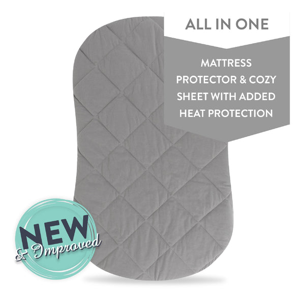 Waterproof Quilted Bassinet Sheet with Heat Protection I Grey
