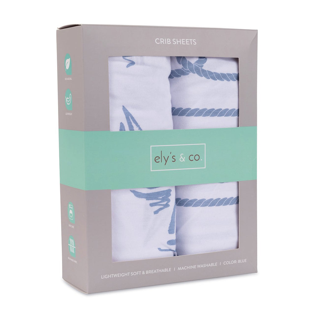 Crib Sheet Set 100% Jersey Cotton 2 Pack - Blue Nautical Print