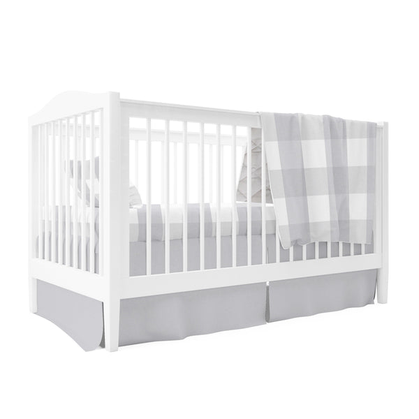 Four Piece Baby Crib Set I Grey Gingham Design