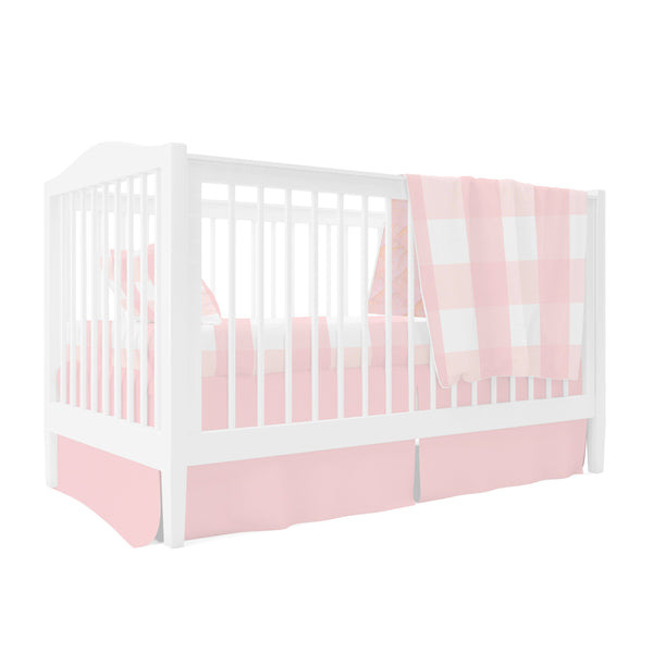 Four Piece Baby Crib Set I Pink Gingham Design