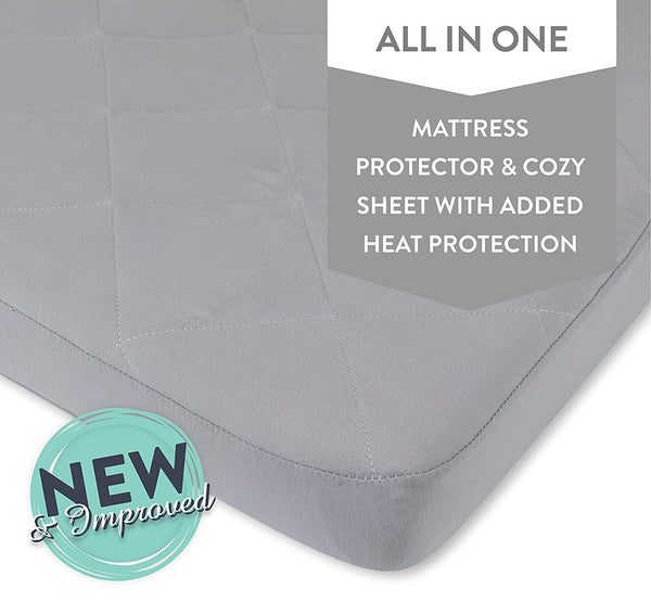Quilted Waterproof Pack n Play / Portable Crib Sheet I Grey