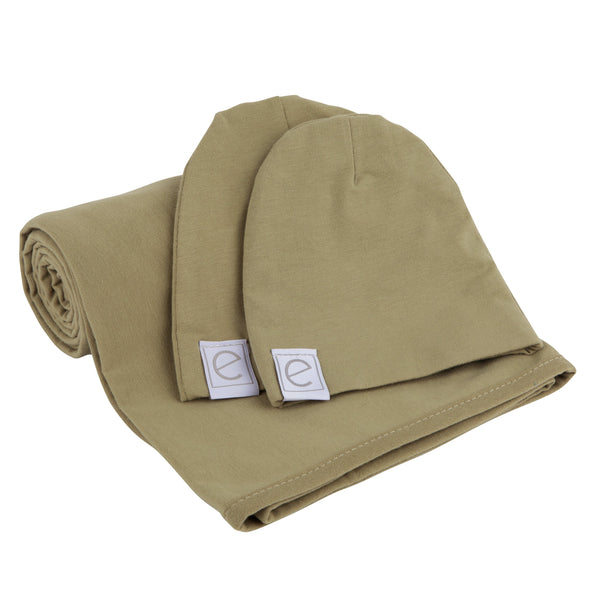 Jersey Knit Cotton Swaddle Blanket and Beanie Gift Set - Khaki