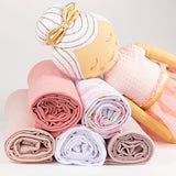 Jersey Knit Cotton Swaddle Blanket and Beanie Gift Set - Rose Fuchsia