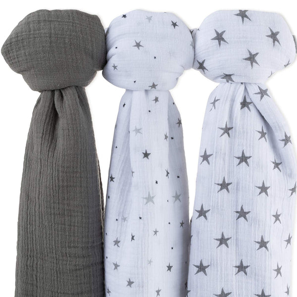 Cotton Muslin Swaddle Blanket I Grey Star Collection - 3 Pack