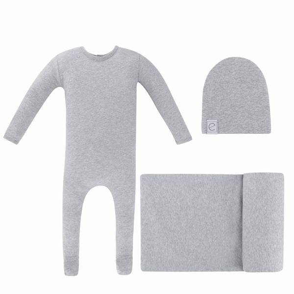 Solid Footie, Beanie, Blanket in Gift Box