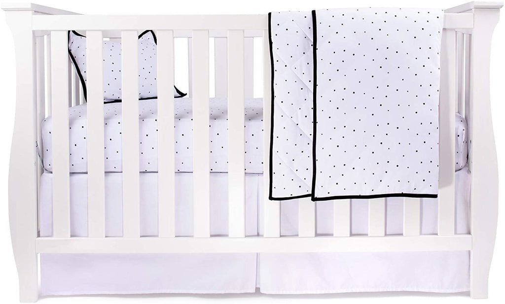 Four Piece Baby Crib Set I Black & White Polka Dot Design