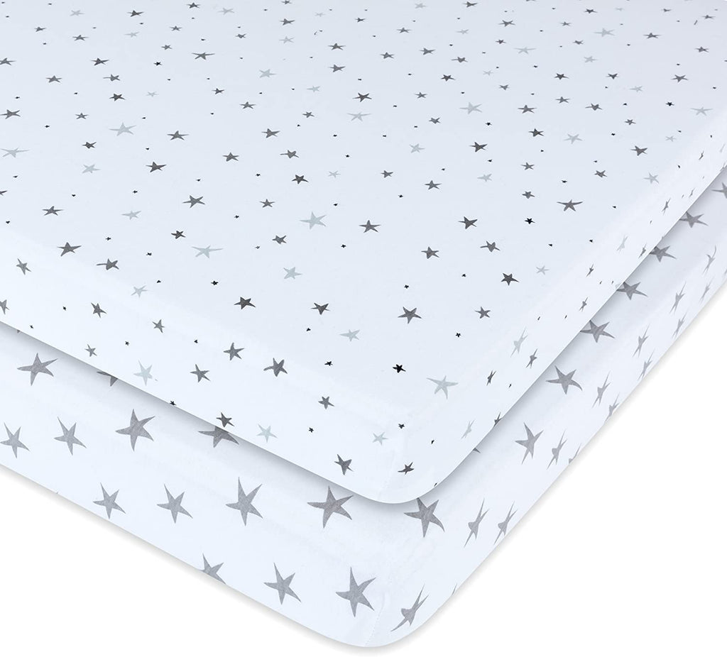 Ely's & Co. Patent Pending Waterproof Crib│Toddler Bed Sheet 2-Pack Set for Baby Boy or Baby Girl - 100% Combed Jersey Knit Cotton Sheets with Eco-Friendly Waterproof Lining — Grey Stars