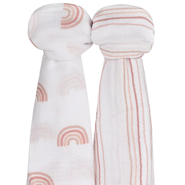 Cotton Muslin Swaddle Blanket I Dusty Pink Rainbow Collection