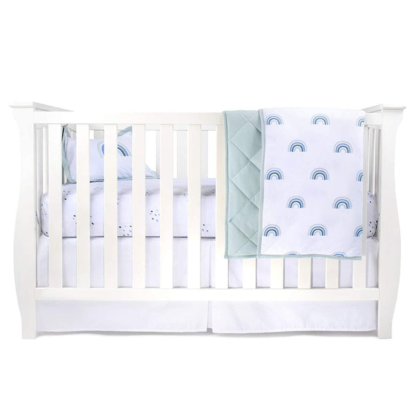 Four Piece Baby Crib Set I Blue Rainbow