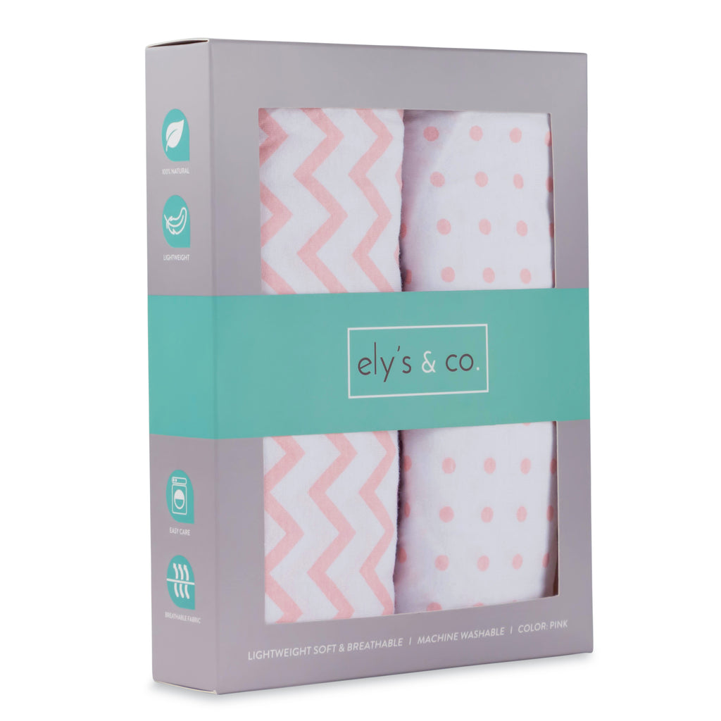 Pack N Play / Portable Crib Sheet Set I Pink Chevron and Polka Dots