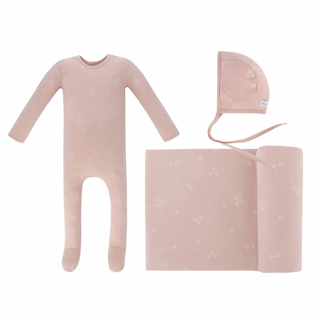 Star Footie, Bonnet, Blanket in Gift Box