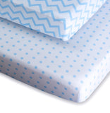 Pack N Play / Portable Crib Sheet Set I Blue Chevron And Polka Dots