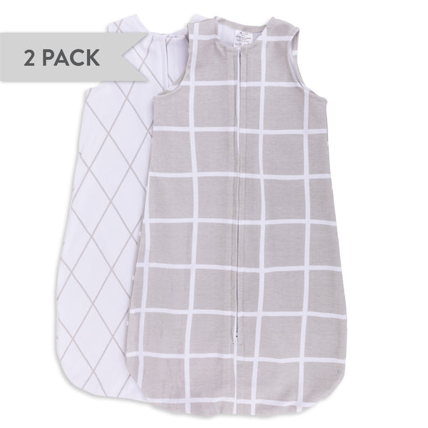 Wearable Blanket / Baby Sleep Bag I Grey Grid - 2 Pack
