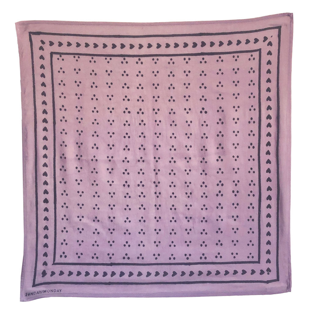 Springy lavender lilac purple block print bandana scarf. Hand block printed black dot pattern on silk cotton blend.