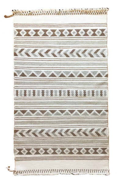 Desert inspired neutral boho tribal handwoven rug