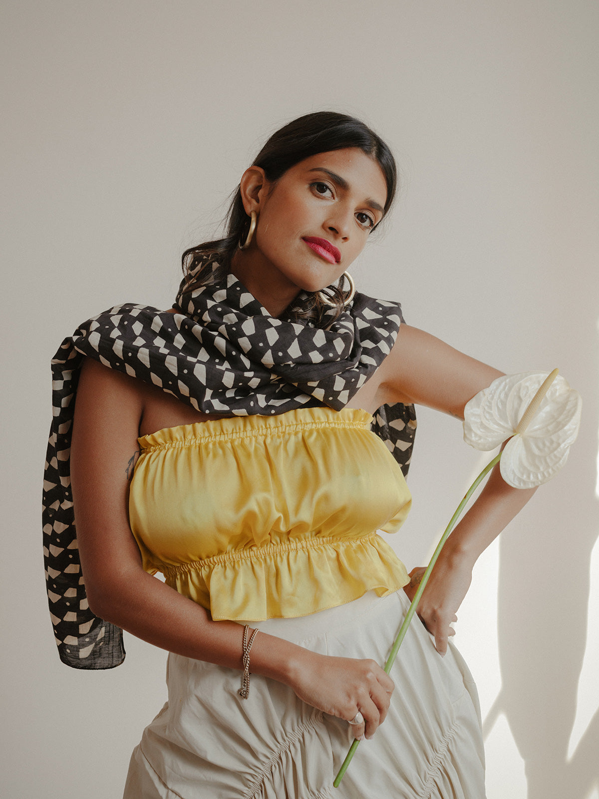 SUNDAY/MONDAY's silk cotton Domino scarf is hand block printed with natural black dye.
