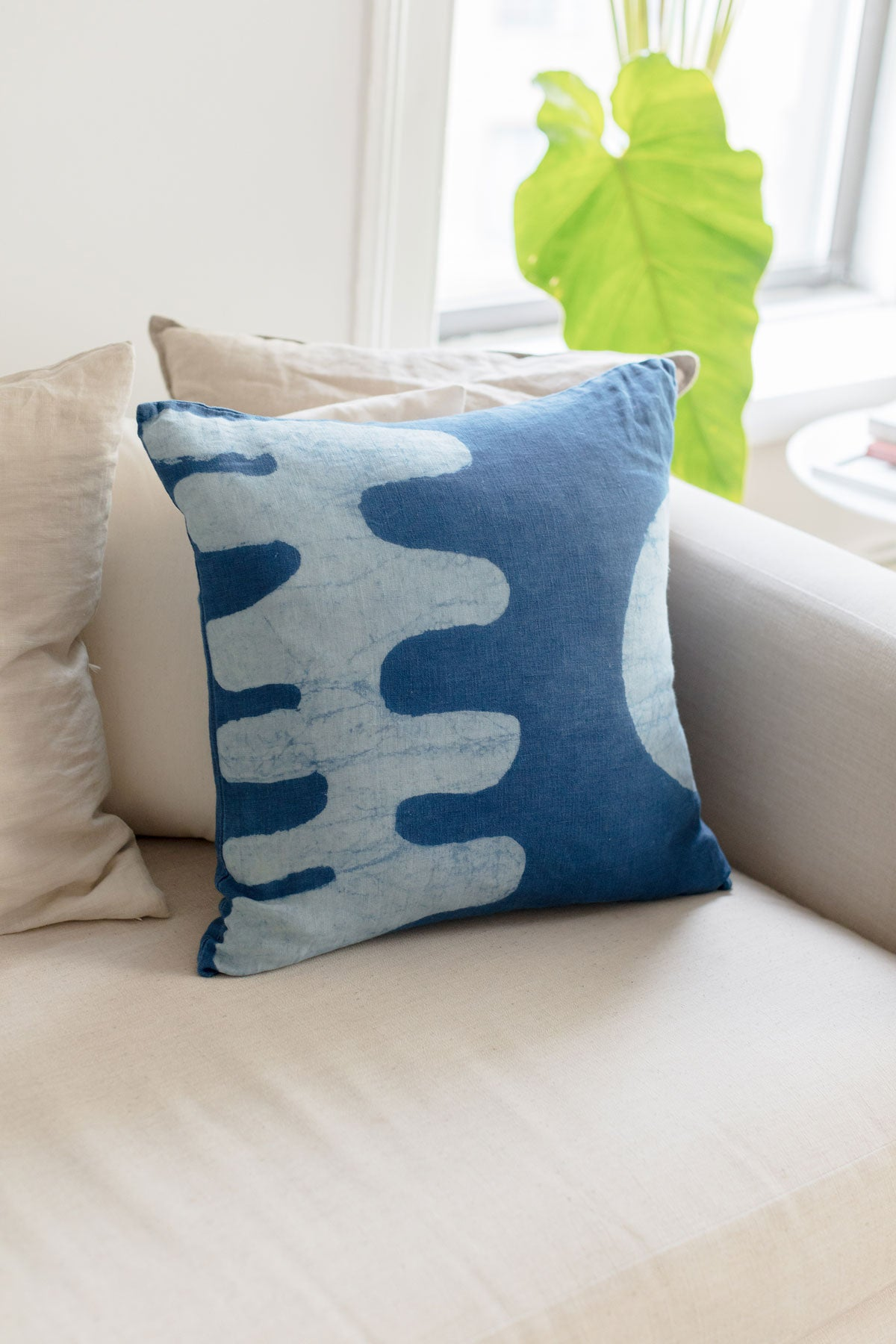 Blue Matisse inspired pillow by SUNDAY/MONDAY. Hand block printed and hand dyed with natural indigo. Featuring bold graphic cut out shapes.