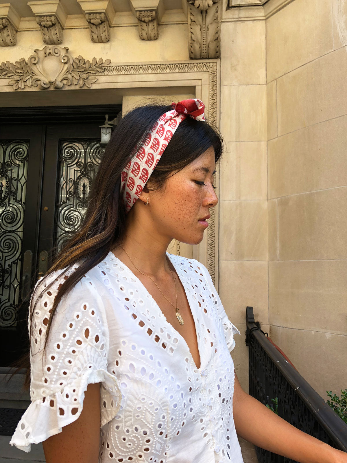 Perfect lightweight bandana for summer! Hand block printed in Bagru, India by master printers. Vibrant scarlet red color, perfect for adding a chic touch to any outfit.