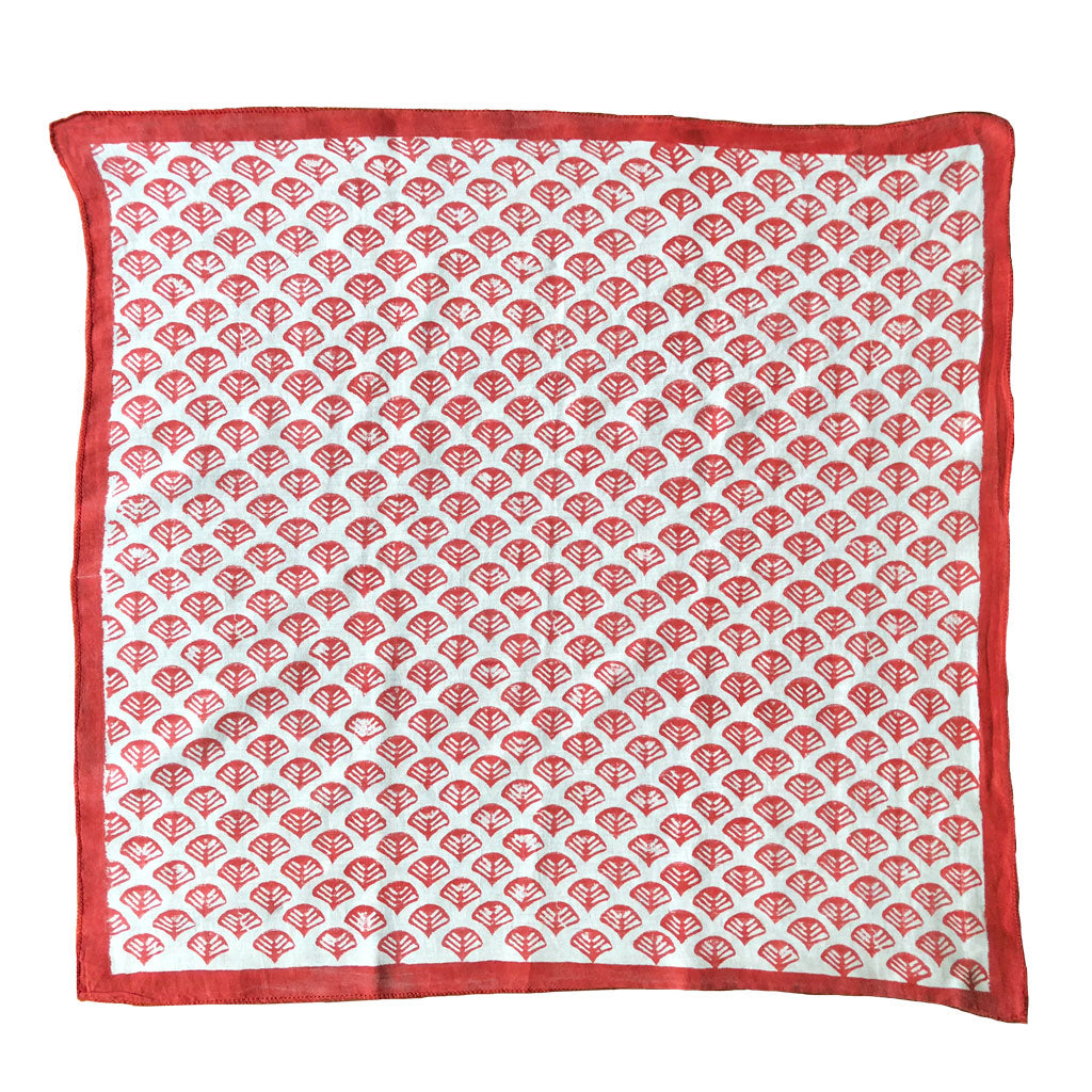 Our Ibis crimson red Bandana scarf is hand block printed in Bagru, India by master printers and is an update on a traditional design. Scarves for women, In a lovely vibrant scarlet red color,cotton silk blend
