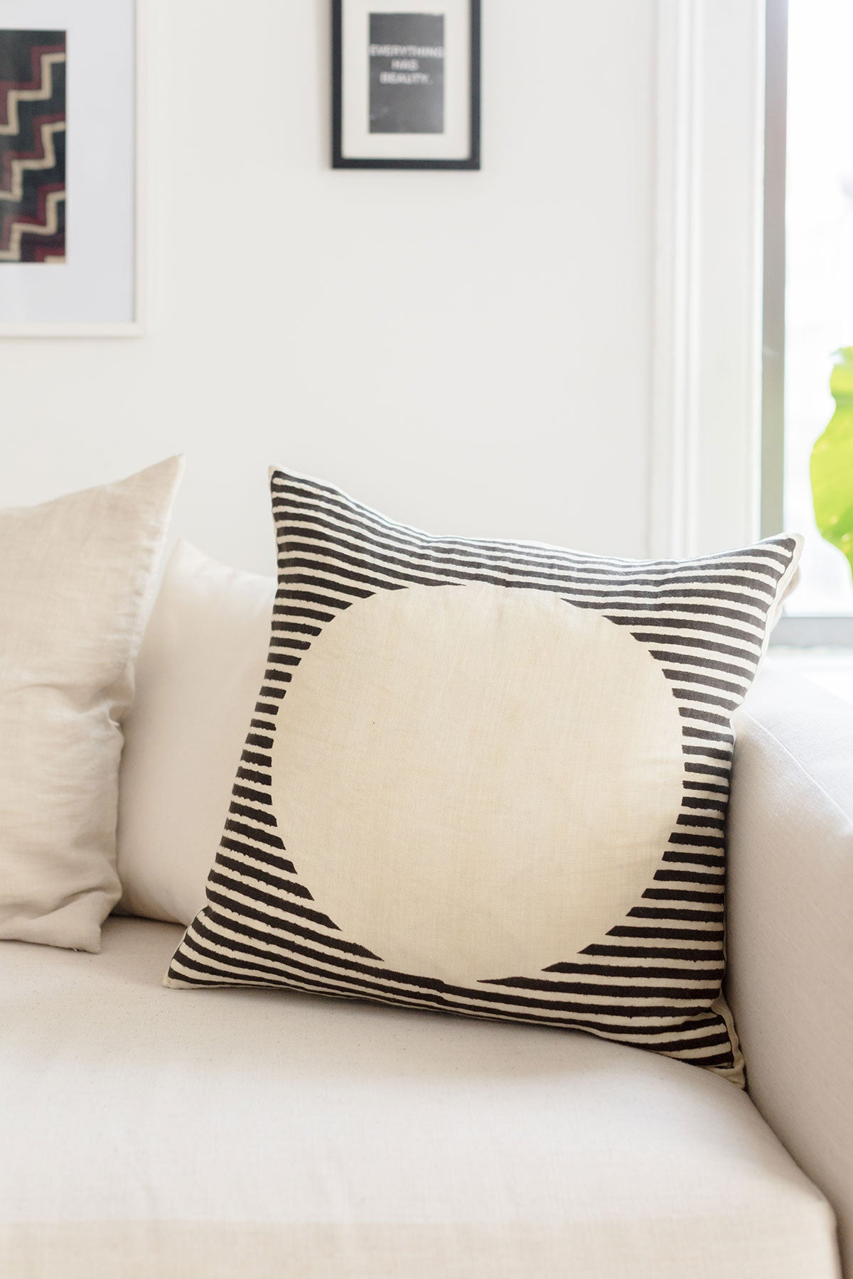 Black and off white geometric pillow by SUNDAY/MONDAY. Hand block printed with natural dye on Indian linen. Adds a bold neutral statement to any space. Inspired by Sol Le Witt.