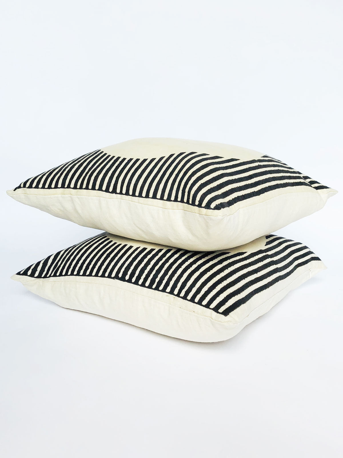 black and white striped geometric decorative throw pillow cover hand block printed with natural black dye.